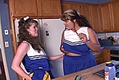 Cheerleader Sluts Try Double Ended Dildo
