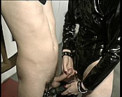 Dominatrix Taunts Slave With Shaved Cunt