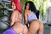 Two Phat Booty Girls Share An Ebony Cock