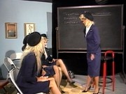 Three hot flight stewardess in one scene