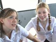Teens Tabitha and Madison enjoys blow job