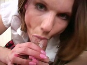 Brunette slut features her mouth prowess