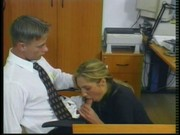 Hot office girl fucked by two horny studs