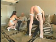 Swinging Ava and Brooke get slits nailed