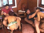 Two hot Latina divas enjoy orgies