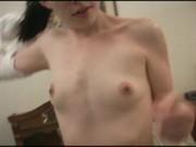 Lovely brunette slut shows mouth skills