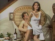 Sexy brunette gets hot with champagne
