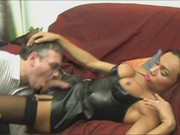 Transsexual Raissa gets blasted with jizz