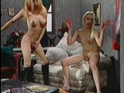 Two blonde t-girl sluts treat dude like dog