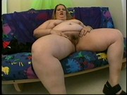 Chubby blonde chick displays flabby skin