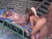 Two horny chicks sparingly stud by nasty cock