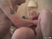 Old blonde whore well endowed with cock sucking