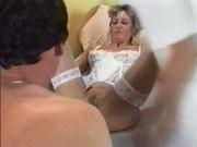 Bedridden patient treats by two nasty nurses in uniform