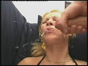 Blonde whore rides a fat cock