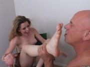 Pretty blonde hottie sucks monstrous cock